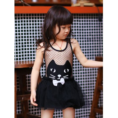 Cute Cat Pattern See Through Girl's One Piece Swimwear