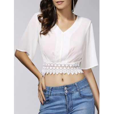 Stylish V-Neck 1/2 Sleeve Lace Embellished Crop Top For Women