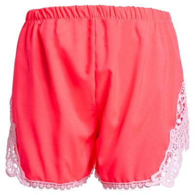 Sweet Elastic Waist Laced Ladies Pink Shorts