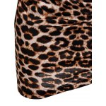 Low-Cut V-Neck Leopard Print Long Sleeves Alluring Women's Bodycon Dress for sale