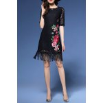 Flower Embroidered Lace Fringe Bodycon Dress for sale