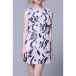 Flounced Pleated Mini Dress