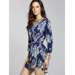 Casual Front Button Closure Printed Women's Blue Dress for sale