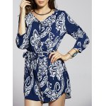Casual Front Button Closure Printed Women's Blue Dress