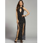 Fashion Stand Neck Cut Out Backless Striped Maxi Dress For Women deal
