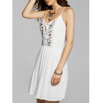 Stylish Cami Flower Embroidery A Line Women's Dress
