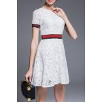Round Collar Lace A Line Dress deal