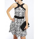 Buy Active Spaghetti Strap Hollow Floral Print Women's Dress L WHITE