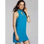 Stylish Stand Neck Sleeveless Cut Out Chiffon Dress For Women deal