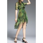 Plant Print High Low Half Sleeve Dress deal