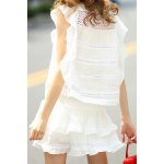 cheap Flounce Ruffles Tank Top and High Waist Solid Color Skirt Suit