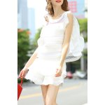 Flounce Ruffles Tank Top and High Waist Solid Color Skirt Suit