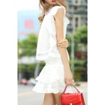 Flounce Ruffles Tank Top and High Waist Solid Color Skirt Suit deal