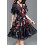 Puff Sleeve Gauze Floral Dress