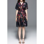 Puff Sleeve Gauze Floral Dress for sale