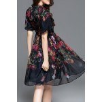cheap Puff Sleeve Gauze Floral Dress