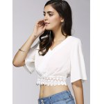 Stylish V-Neck 1/2 Sleeve Lace Embellished Crop Top For Women deal