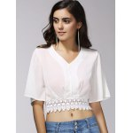 cheap Stylish V-Neck 1/2 Sleeve Lace Embellished Crop Top For Women