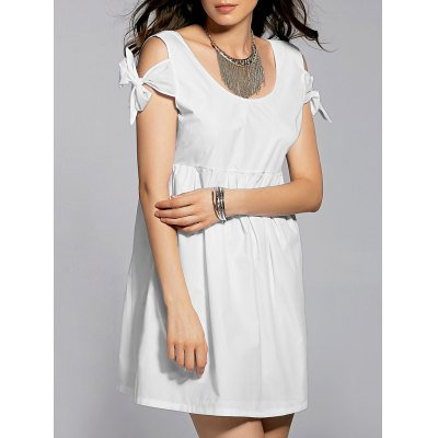 Stylish Scoop Neck White Self Tie Women's Dress