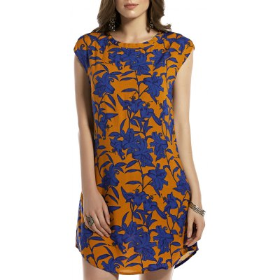 Round Neck Retro Floral Print Sleeveless Dress