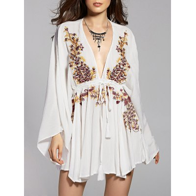 Plunging Neck Flare Sleeve Embroidered Women's Dress