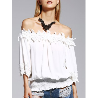 Off The Shoulder White Lacy 3/4 Sleeve Blouse For Women