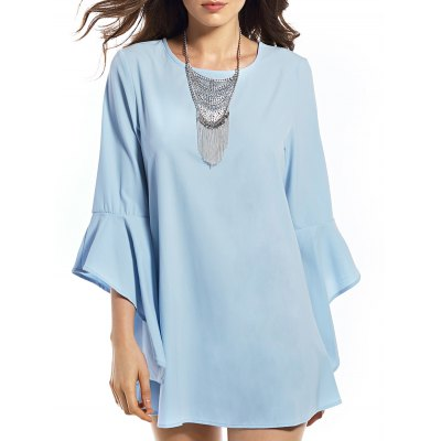 Round Neck Solid Color Flounce Dress