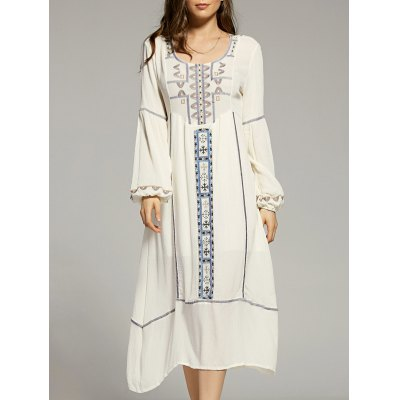 Scoop Neck Lantern Sleeve Cut Out Embroidery Dress