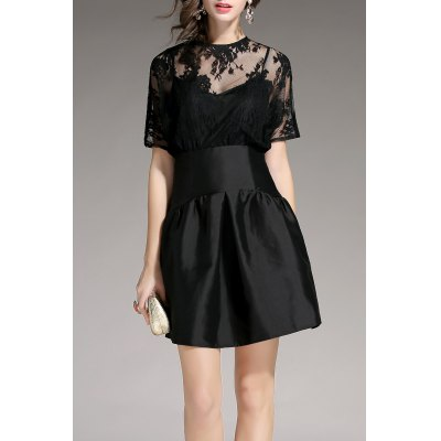Sheer Lace Splicing Mini Dress