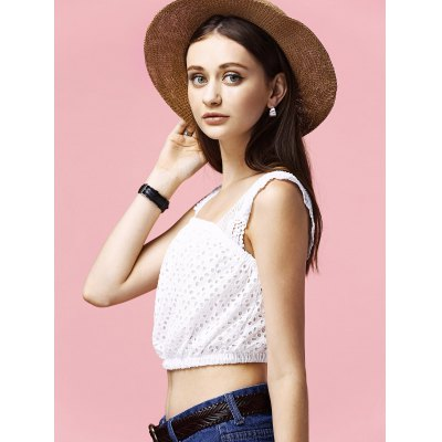 Charming Square Neck Hollow Out Solid Color Women's Crop Top