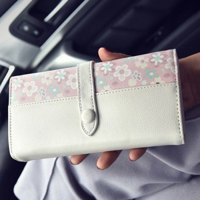 Sweet Floral Print and PU Leather Design Wallet For Women