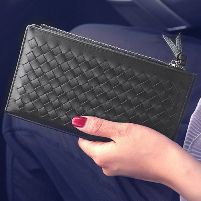 Trendy Weaving and Solid Color Design Wallet For Women