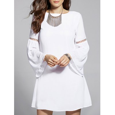 Jewel Neck Flare Sleeve Drawstring Cut Out Dress