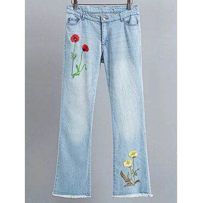 Fashion Rough Selvedge Floral Embroidery Jeans For Women