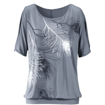 Casuall Short Sleeve Scoop Neck Feather Print T-Shirt