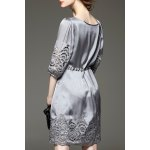cheap Openwork Drawstring Waist Dress