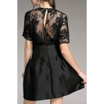 cheap Sheer Lace Splicing Mini Dress