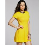Stylish Round Neck Short Sleeve Cut Out Solid Color Women's Dress deal