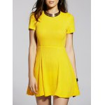 Stylish Round Neck Short Sleeve Cut Out Solid Color Women's Dress