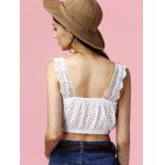 Charming Square Neck Hollow Out Solid Color Women's Crop Top deal