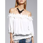Sweet Off The Shoulder White Lacy 3/4 Sleeve Blouse For Women