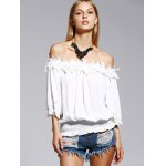 cheap Sweet Off The Shoulder White Lacy 3/4 Sleeve Blouse For Women