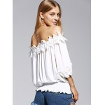 Sweet Off The Shoulder White Lacy 3/4 Sleeve Blouse For Women deal