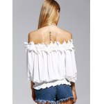 Sweet Off The Shoulder White Lacy 3/4 Sleeve Blouse For Women for sale