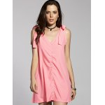 cheap Fashion V-Neck Sleeveless Bowknot Solid Color Dress For Women
