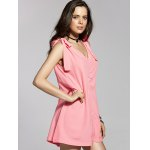 Fashion V-Neck Sleeveless Bowknot Solid Color Dress For Women deal