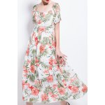 Square Neck Pleated Floral Dress