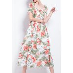 Square Neck Pleated Floral Dress for sale