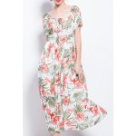 Square Neck Pleated Floral Dress deal