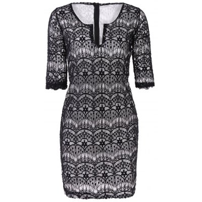 Plunging Neckline 3/4 Sleeve Lace Dress For Women